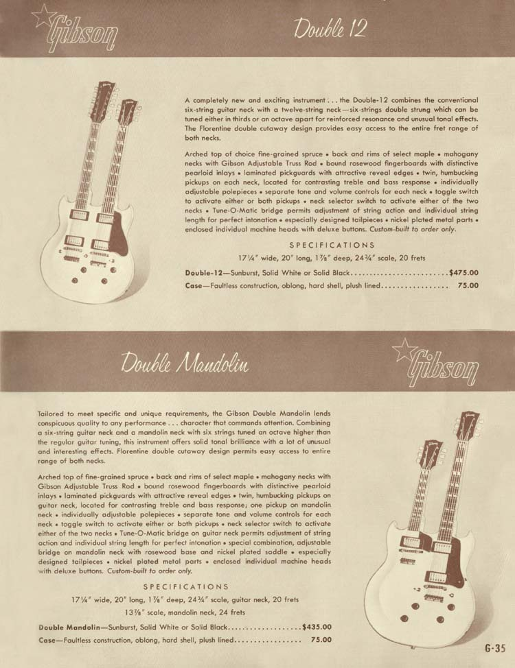 1958 Gibson Electric Guitars and Amplifiers Catalogue page 35 - Double Twelve and Double Mandolin