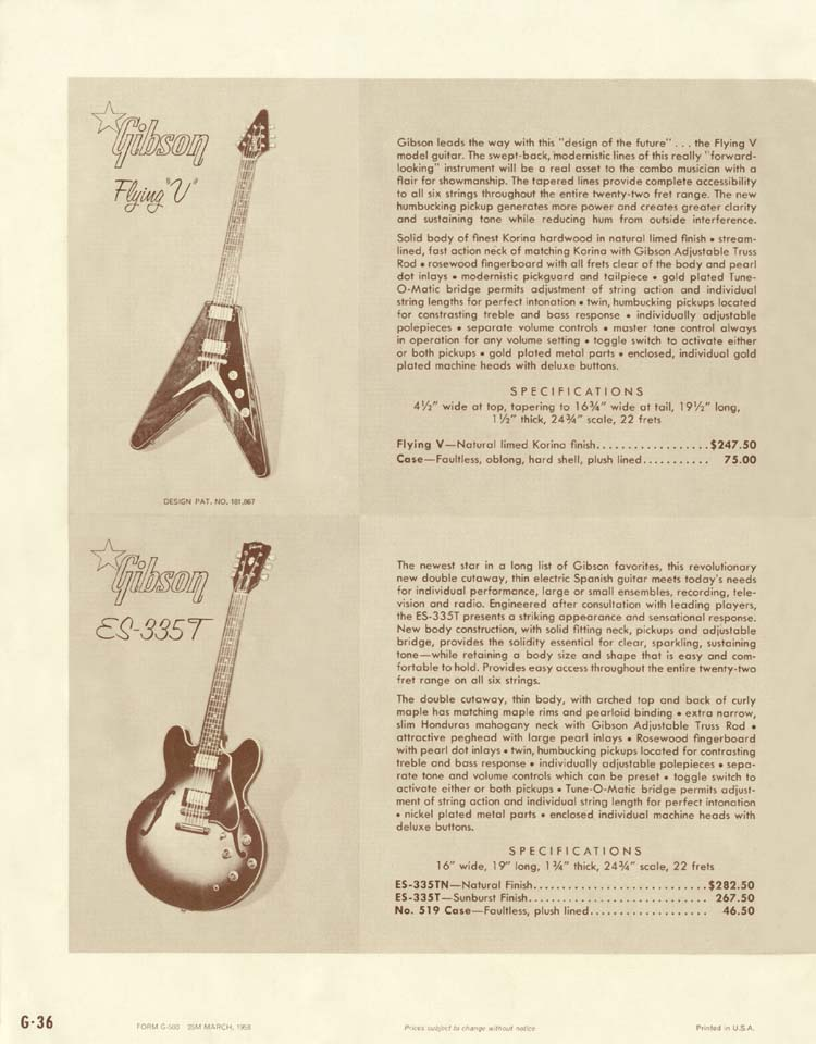 1958 Gibson Electric Guitars and Amplifiers Catalogue page 36 - Fying V and ES-335TD