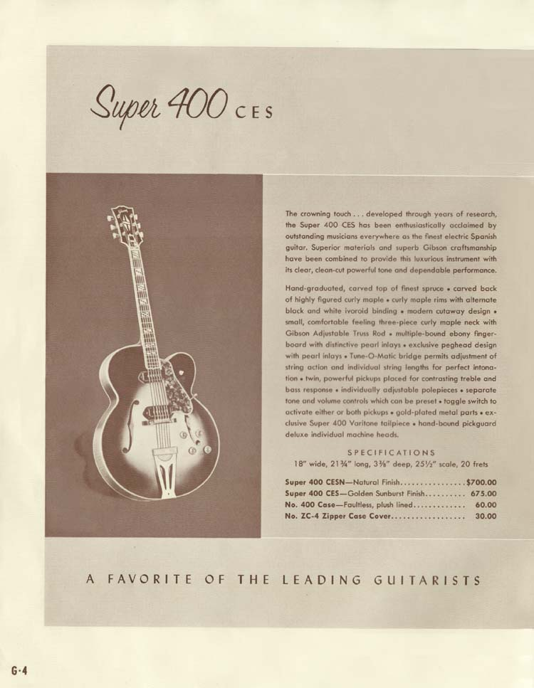 1958 Gibson Electric Guitars and Amplifiers Catalogue page 4 - Super 400 CES