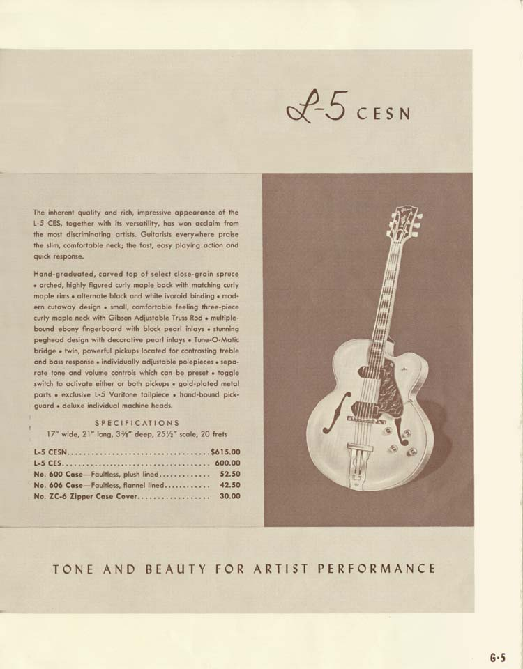 1958 Gibson Electric Guitars and Amplifiers Catalogue page 5 - Gibson L5 CESN