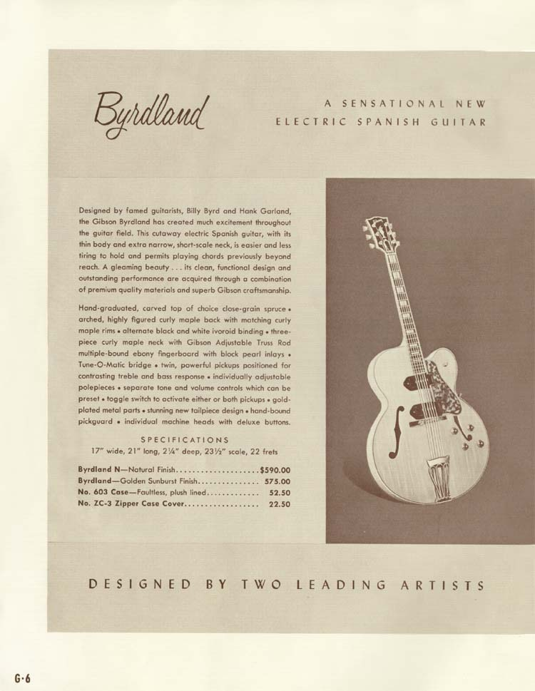 1958 Gibson Electric Guitars and Amplifiers Catalogue page 6 - Gibson Byrdland