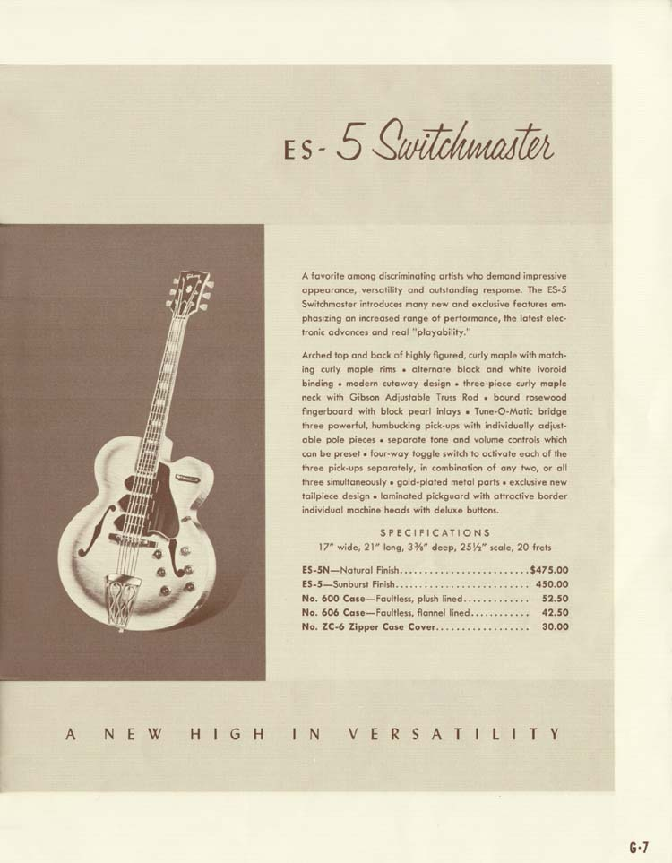 1958 Gibson Electric Guitars and Amplifiers Catalogue page 7 - Gibson ES-5 Switchmaster