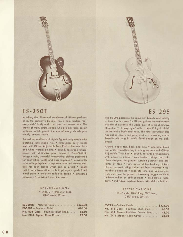 1958 Gibson Electric Guitars and Amplifiers Catalogue page 8 - Gibson ES-350T and ES-295