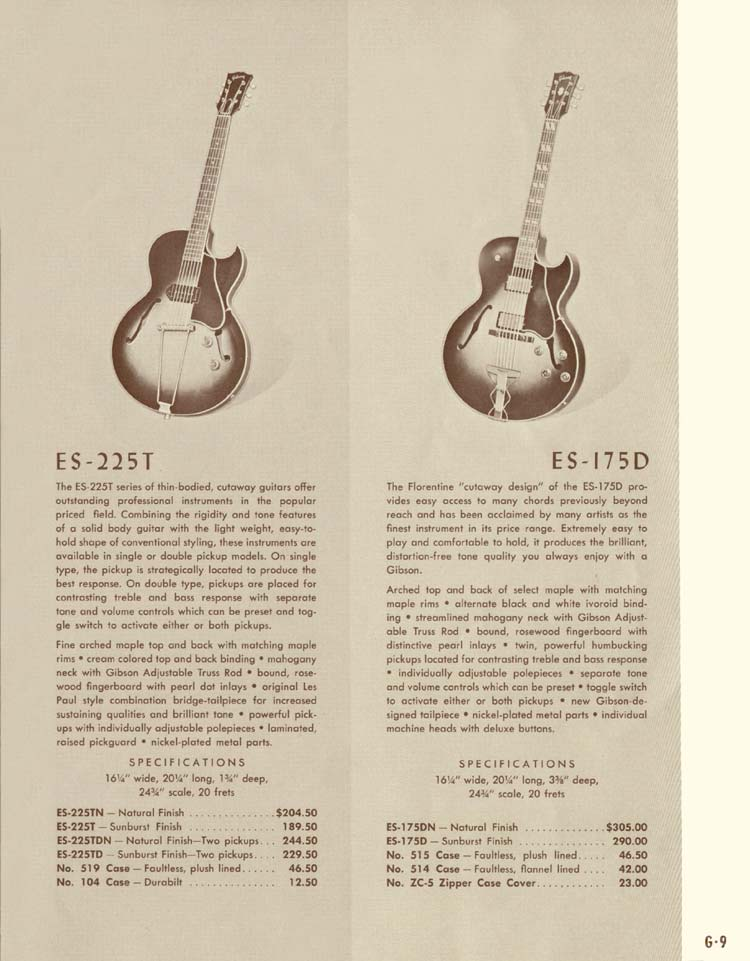 1958 Gibson Electric Guitars and Amplifiers Catalogue page 9 - Gibson ES-225T and Gibson ES-175D