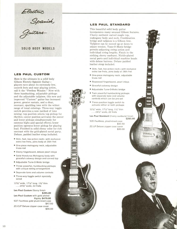 1960 Gibson guitar and bass catalogue - page 10 - Gibson Les Paul Custom and Les Paul Standard