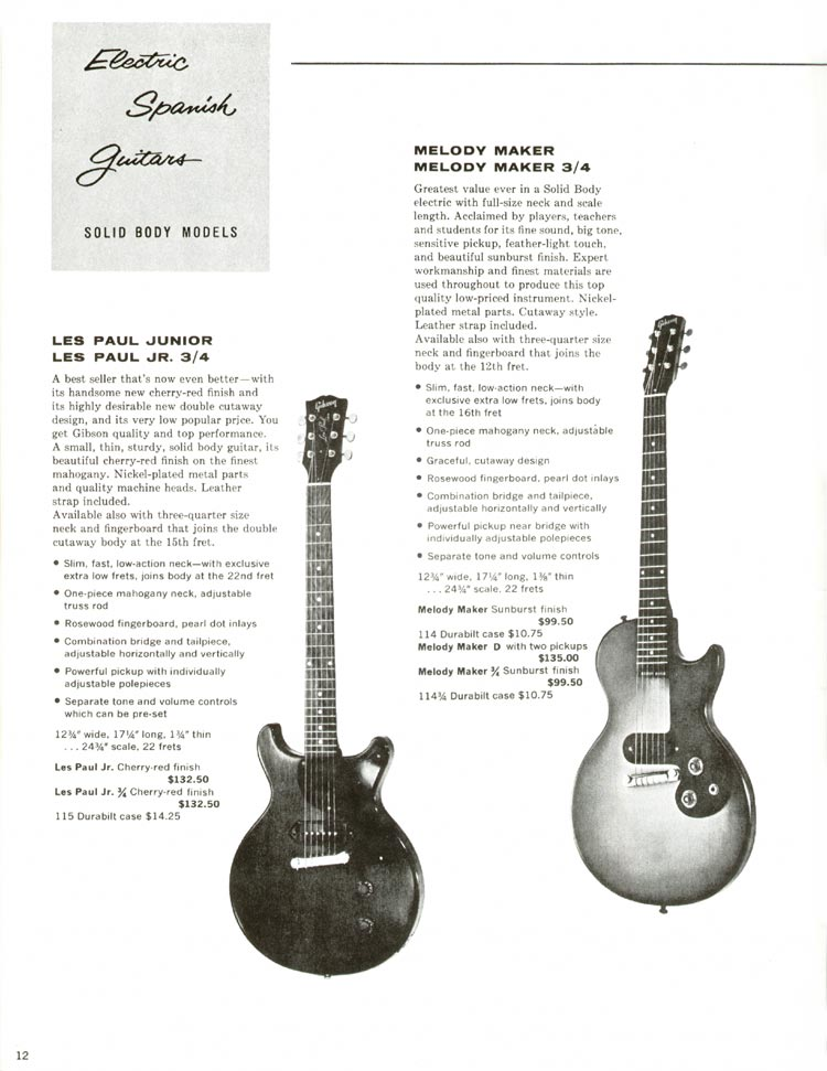 1960 Gibson guitar and bass catalogue - page 12 -  Gibson Les Paul Junior and Melody Maker