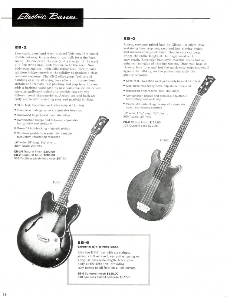 1960 Gibson guitar and bass catalogue - P16. Gibson EB0, EB2 and EB6 bass guitars