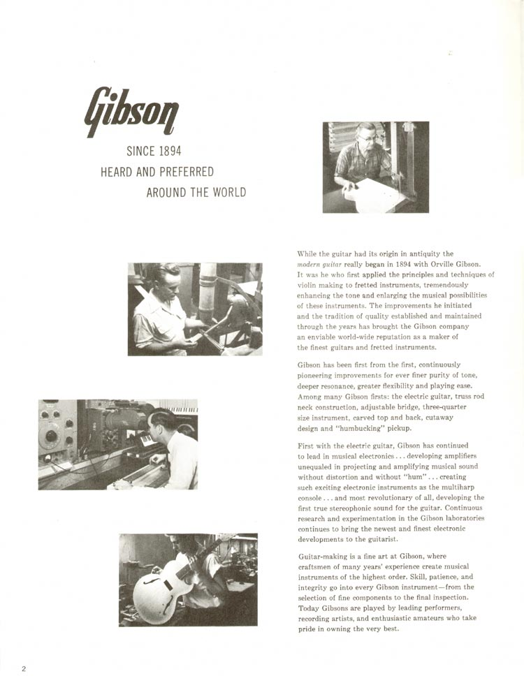 1960 Gibson guitar and bass catalogue - page 2
