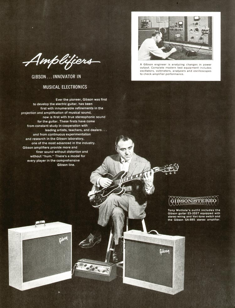 1960 Gibson guitar and bass catalogue - page 20 - section start: amplifiers. Featuring Tony Mottola