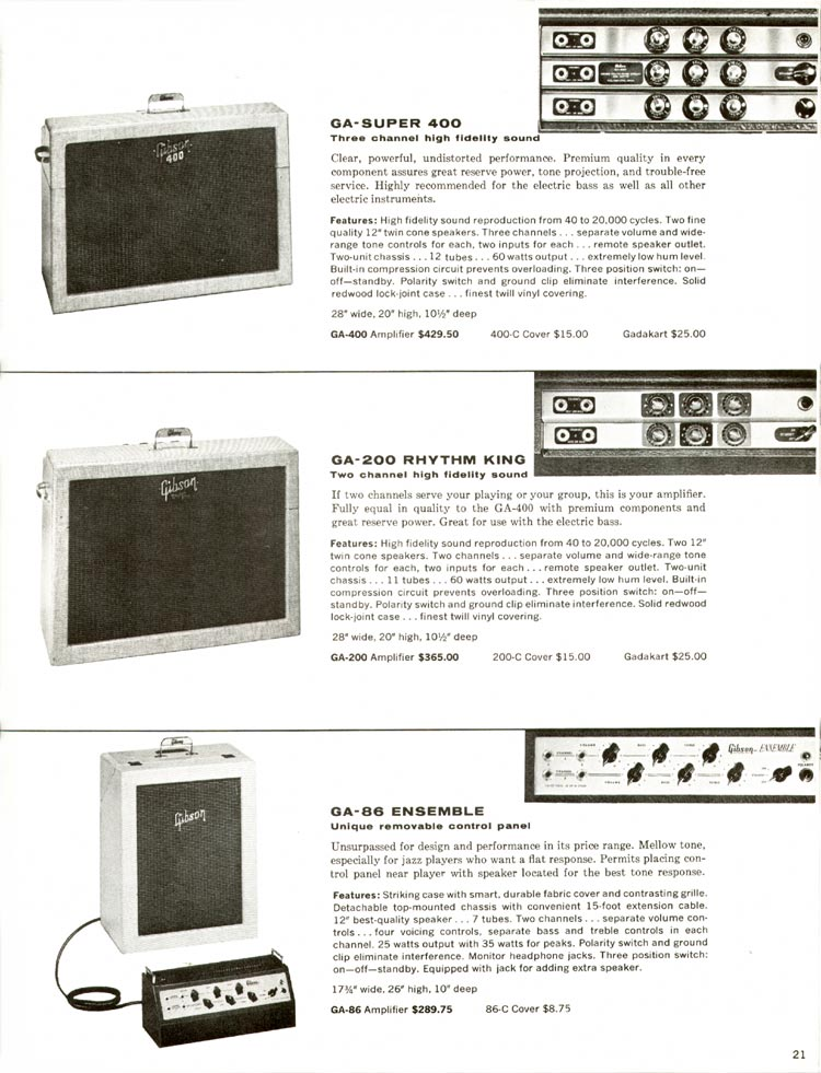 1960 Gibson guitar and bass catalogue - page 21 - GA-200 Rhythm King, GA-Super 400, GA-86 Ensemble