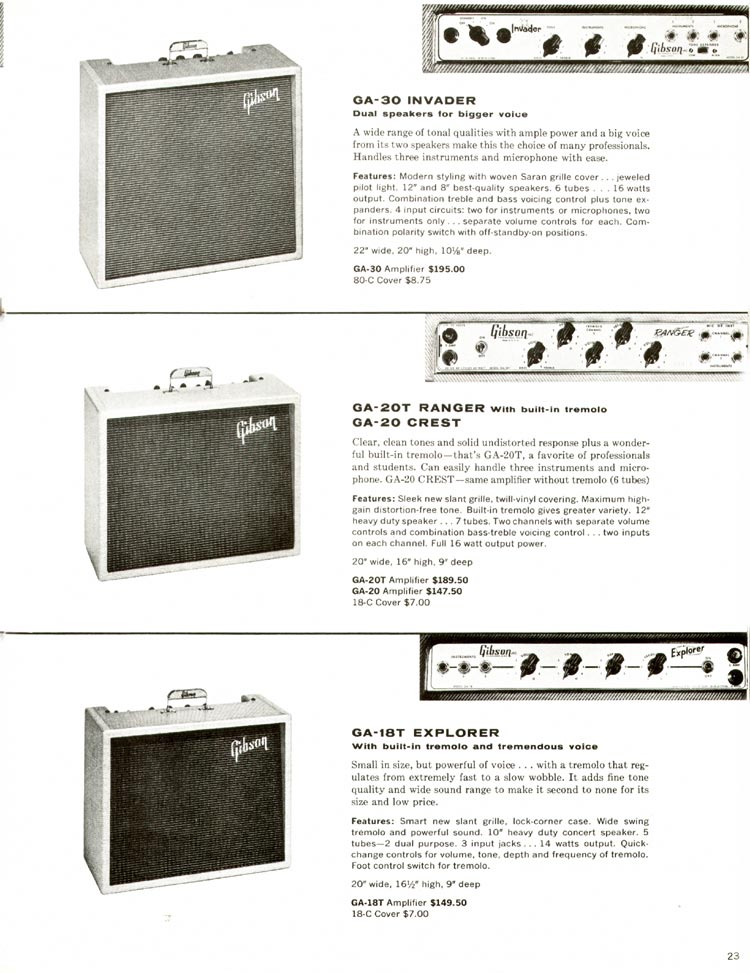 1960 Gibson guitar and bass catalogue - page 23 - Gibson GA-30 Invader, GA-20 Crest, GA-20T Ranger, GA-18T Explorer amplifiers