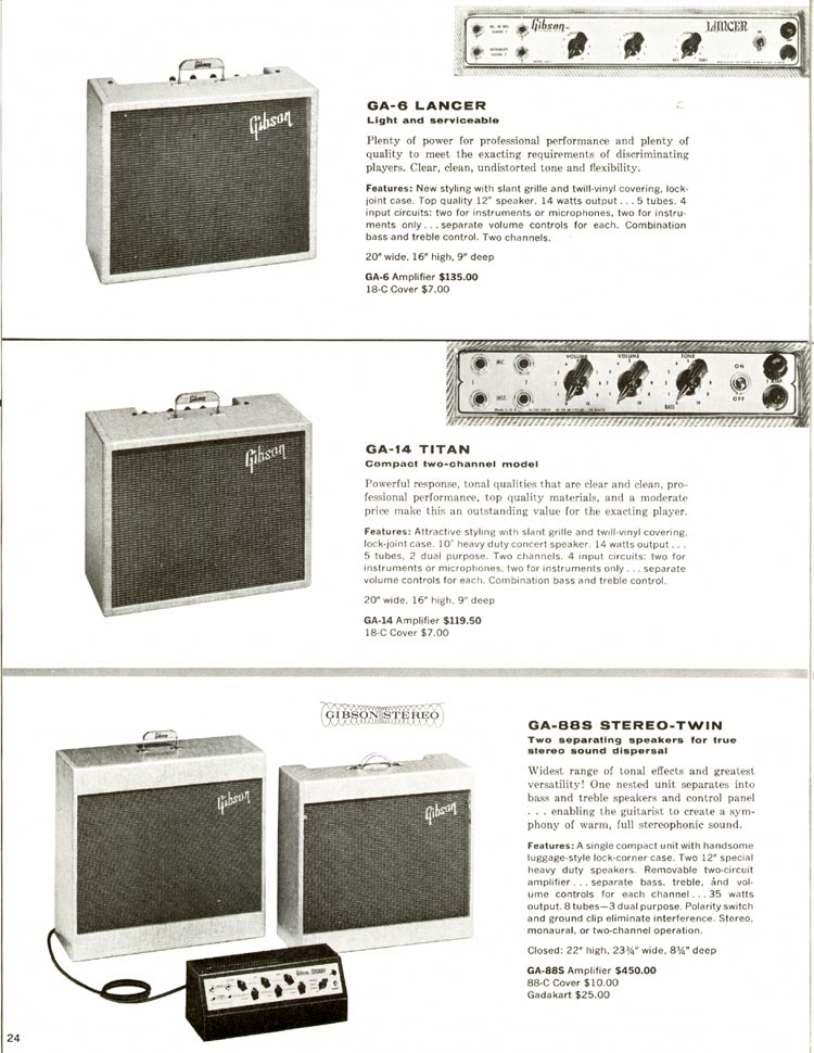 1960 Gibson guitar and bass catalogue - page 24 - Gibson GA-6 Lancer, GA-14 Titan and GA-88S Stereo Twin amplifiers