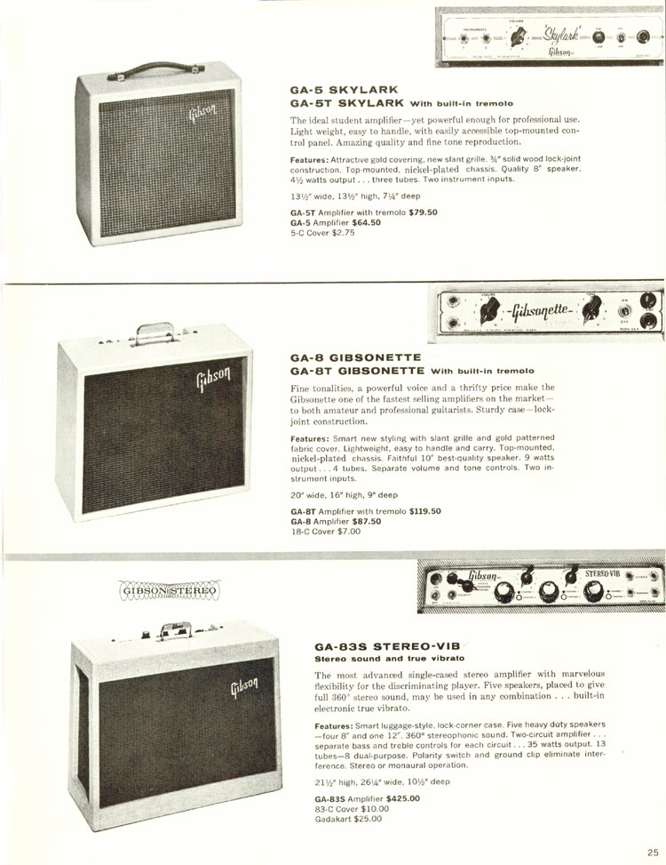 1960 Gibson guitar and bass catalogue - page 25 - Gibson GA-5, GA-5T Skylark, GA-8, GA-8T Gibsonette and GA-83S Stereo VIB amplifiers