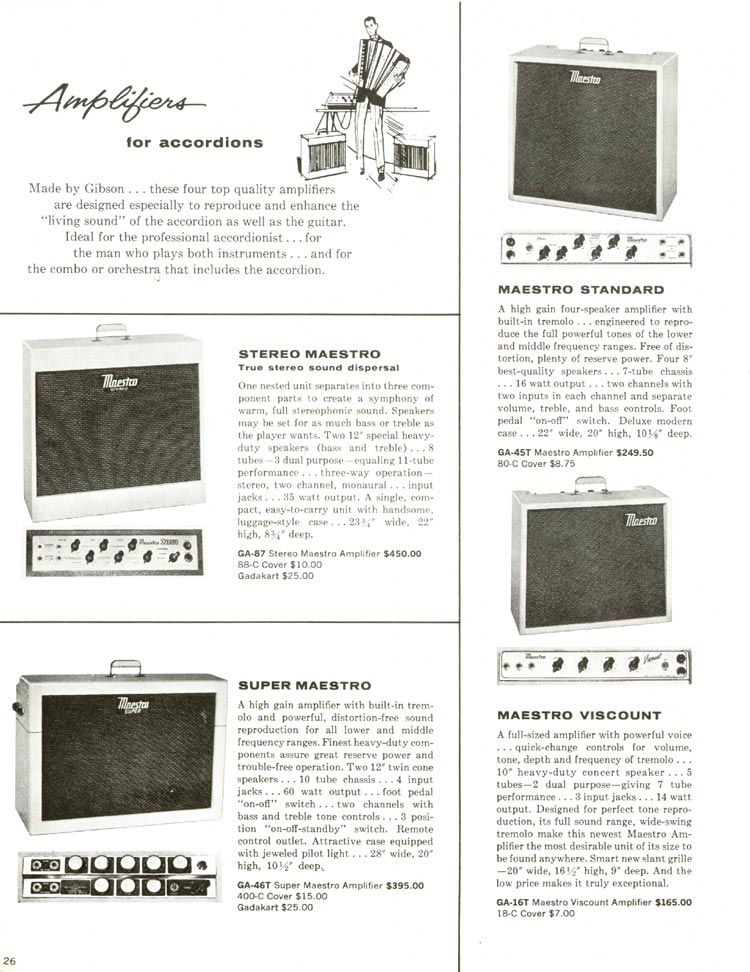 1960 Gibson guitar and bass catalogue - page 26 - Gibson Stereo Maestro, Super Maestro, Maestro Standard and Maestro Viscount accordion amplifiers