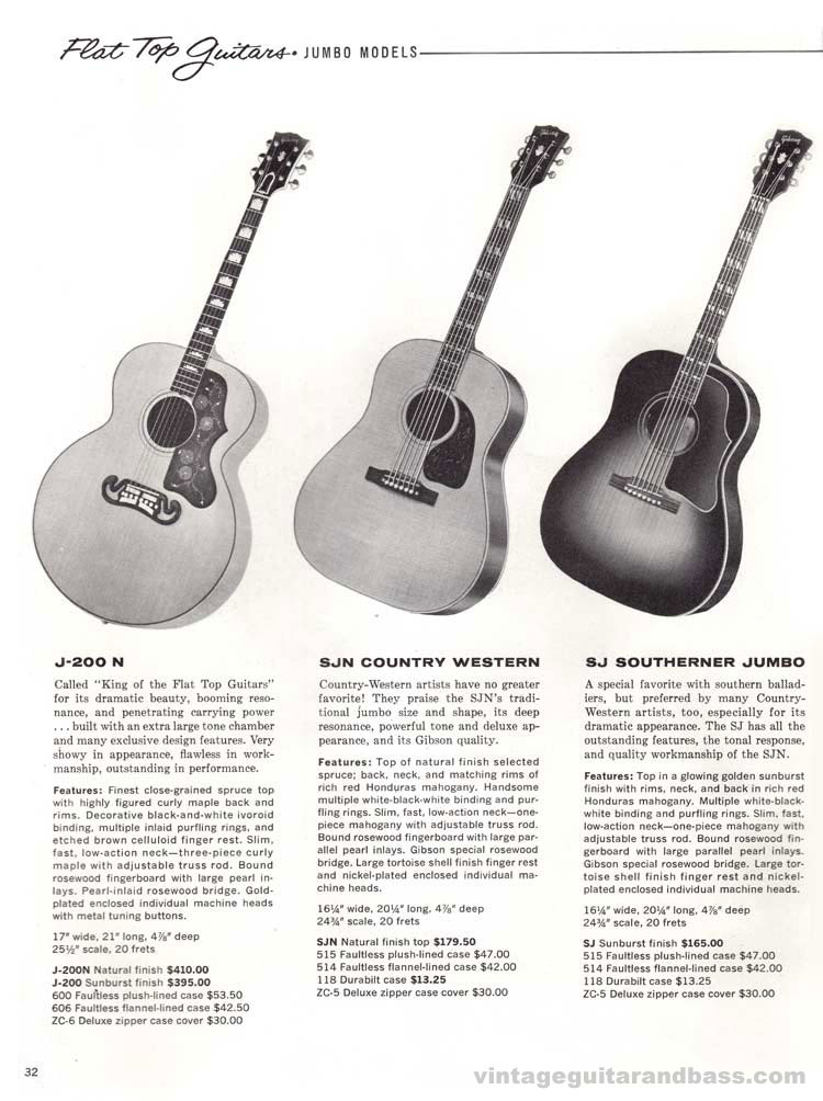1960 Gibson guitar and bass catalogue - page 32 - J-200, SJN Country Western and SJ Southerner Jumbo