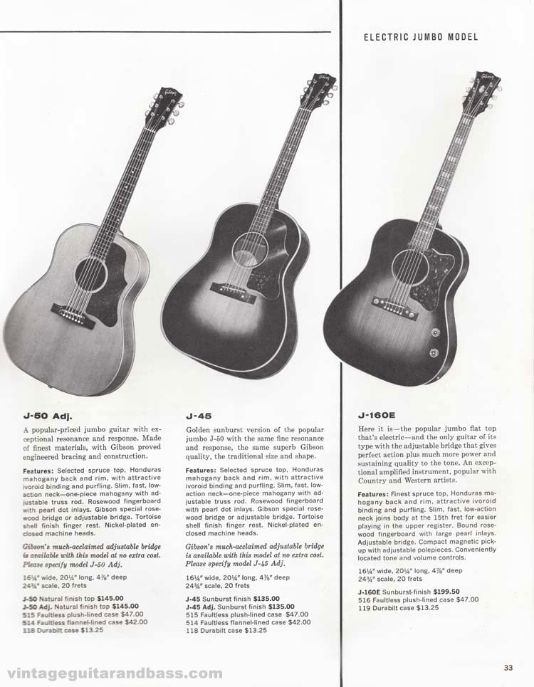 1960 Gibson guitar and bass catalogue - page 33 - Gibson J-160E, J50, and J45 jumbo acoustics