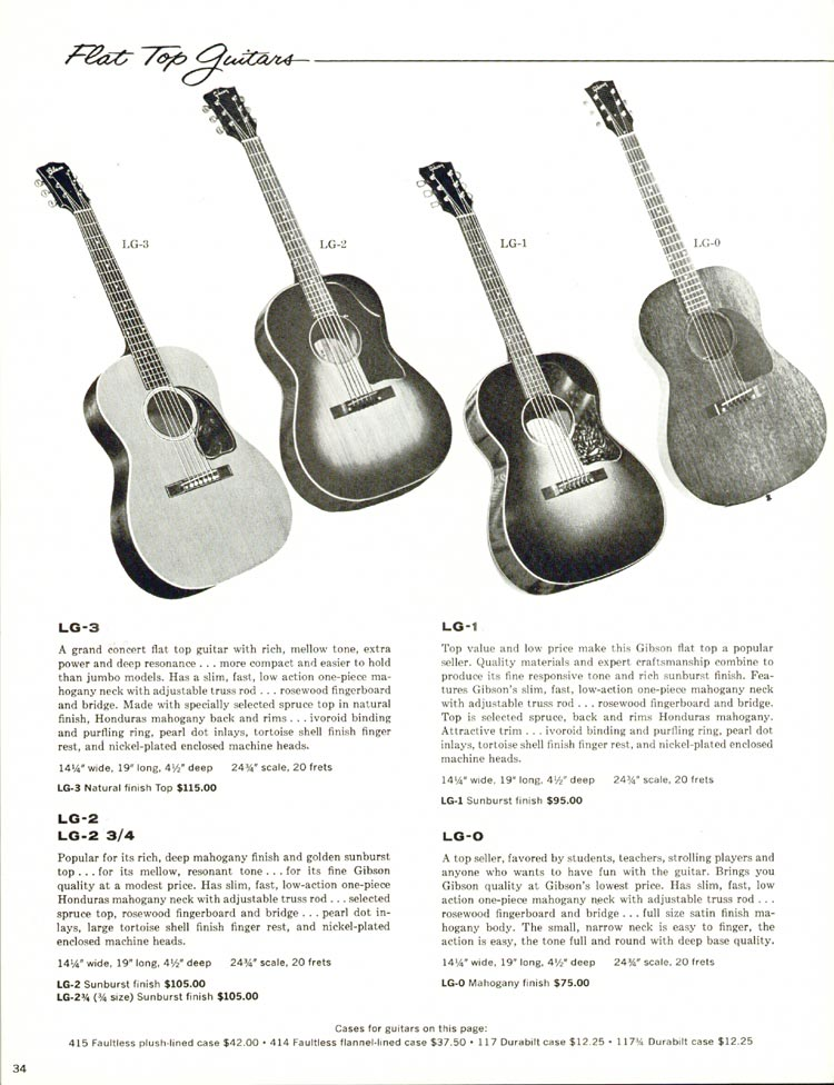 1960 Gibson guitar and bass catalogue - page 34 - LG-0, LG-1, LG-2 and LG-3 flat top acoustics