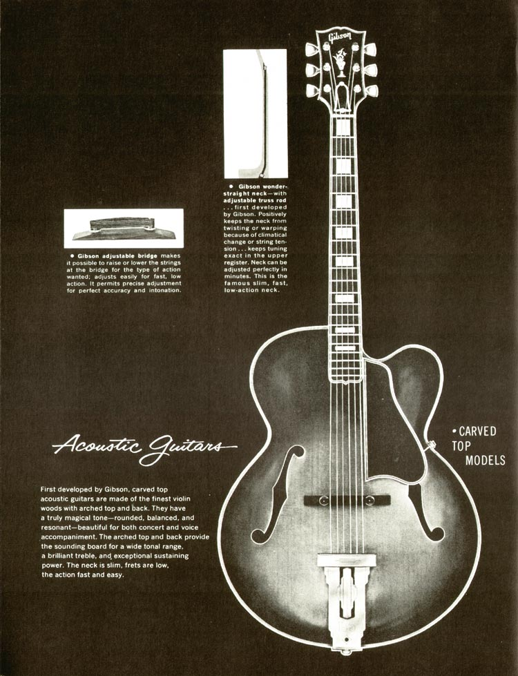 1960 Gibson guitar and bass catalogue - page 36 - Acoustic guitars, carved top models