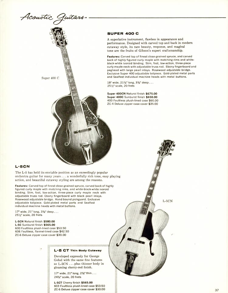 1960 Gibson guitar and bass catalogue - page 37 - Gibson Super 400 and L5C carved top acoustic guitars