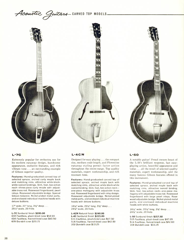 1960 Gibson guitar and bass catalogue - page 38 - L-7C, L-4C and L-50 carved top acoustics