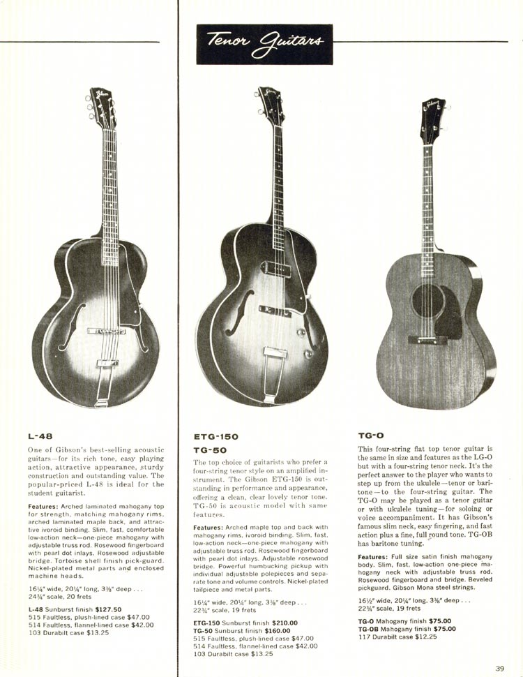 1960 Gibson guitar and bass catalogue - page 39 - Gibson L-48 acoustic and TG-0, TG-50 and ETG-50 tenor guitars