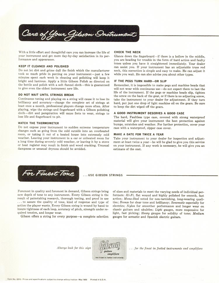 1960 Gibson guitar and bass catalogue - page 43 - Care of your Gibson instrument