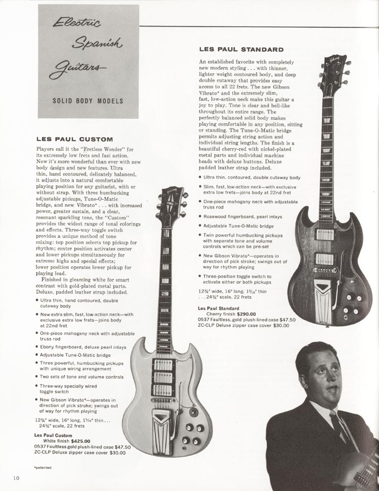Gibson SG Custom and Gibson SG Standard - 1962 Gibson guitar and bass catalogue - page 10 - Les Paul Custom (SG) and Les Paul Standard (SG)