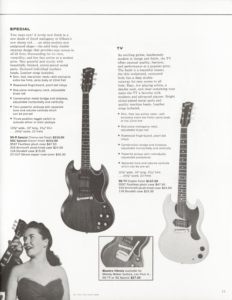 1962 Gibson guitar and bass catalogue - page 11 - Gibson SG Special and TV