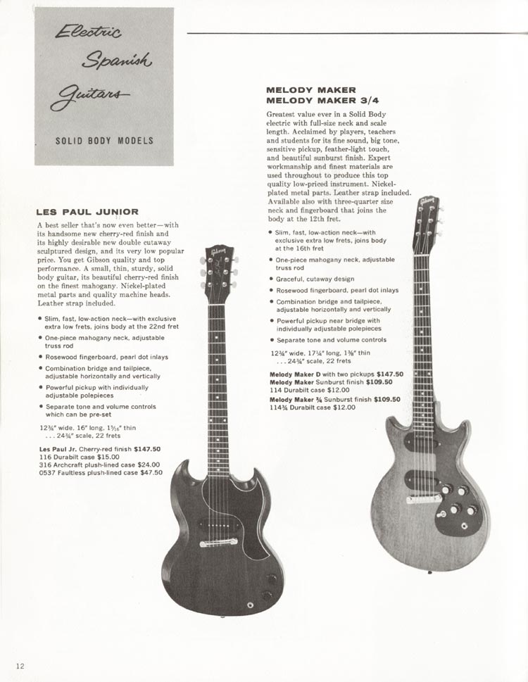 1962 Gibson guitar and bass catalogue - page 12 -  SG Junior and Melody Maker