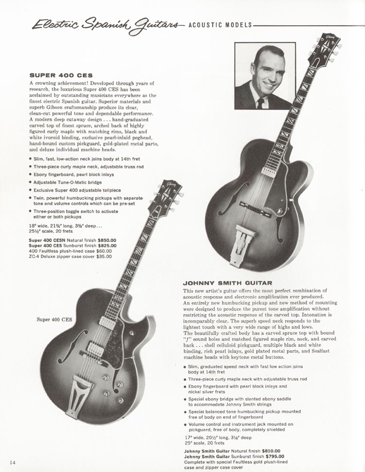 1962 Gibson guitar and bass catalogue - page 14 - Gibson Super 400 CES and Johnny Smith jazz guitars