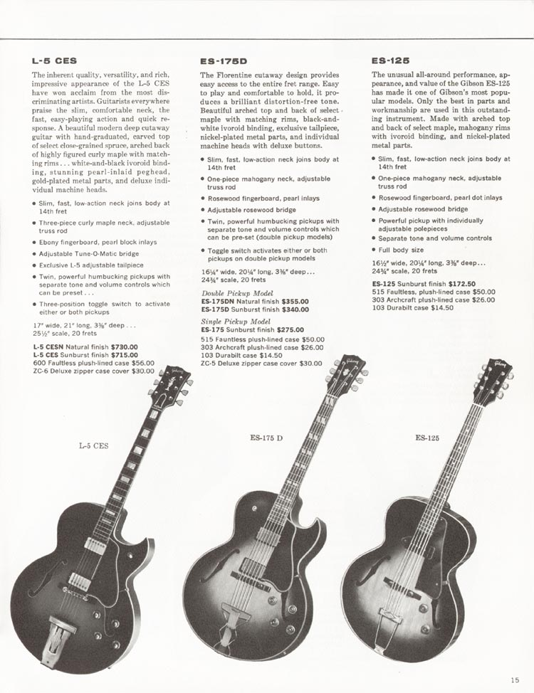 1962 Gibson guitar and bass catalogue - page 15 - Gibson L-5CES, Gibson ES-175D and Gibson ES-125