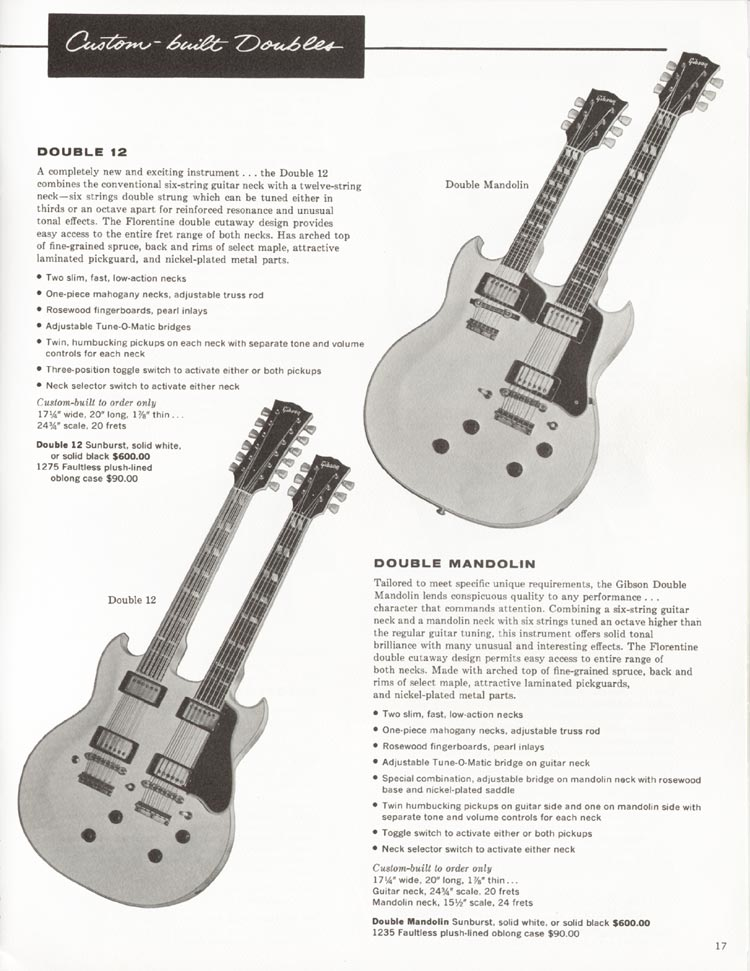 1962 Gibson Guitar and Bass catalogue page 17 - Double 12 and Double Mandolin