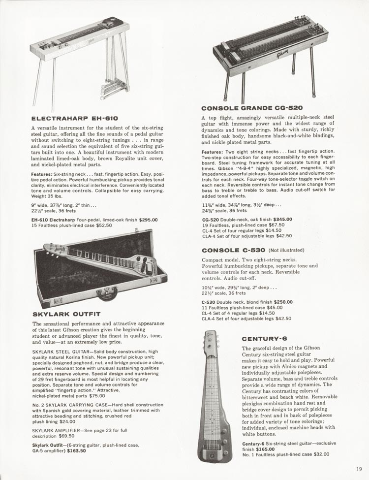 1962 Gibson guitar and bass catalogue - page 19 - Electraharp EH-610, Skylark, Console Grande CG-520, Console C-530 and Century-6