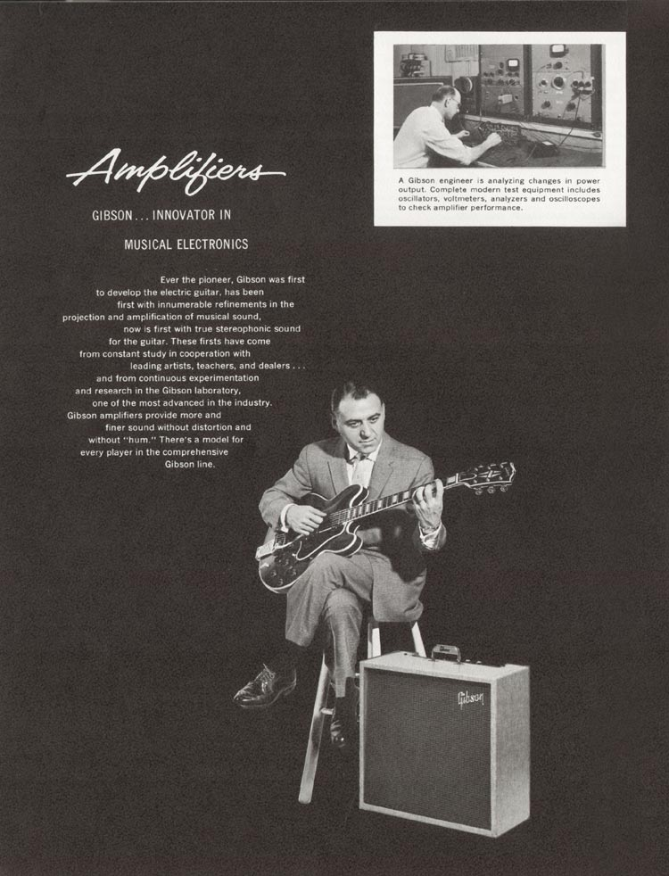 1962 Gibson guitar and bass catalogue - page 20 - Tony Mottola with ES-355TD-SV and GA-79RV amplifier