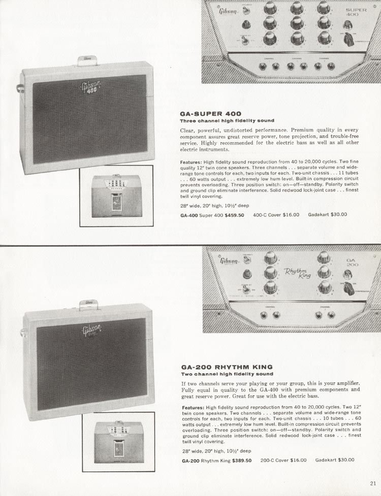1962 Gibson guitar and bass catalogue - page 21 - GA-200 Rhythm King and GA-Super 400