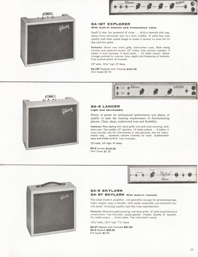 1962 Gibson guitar and bass catalogue - page 23 - GA-5 / GA-5T Skylark, GA-6 Lancer and GA-18T Explorer amplifiers