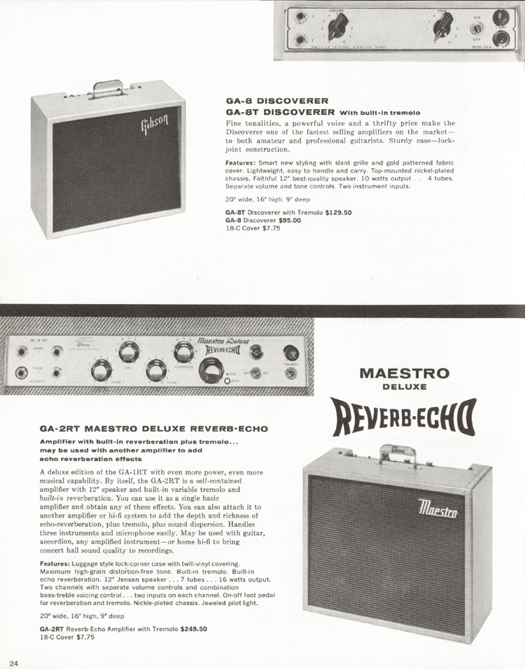 1962 Gibson guitar and bass catalogue - page 24 - GA-2RT Maestro Deluxe Reverb Echo and GA-8 / GA-8T Discoverer amplifiers