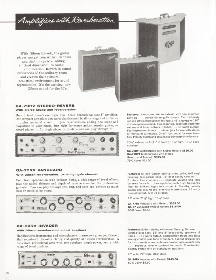 1962 Gibson guitar and bass catalogue - page 26 - details of the GA-30RV Invader, GA-77RV Vanguard and GA-79RV Stereo-Reverb amplifiers