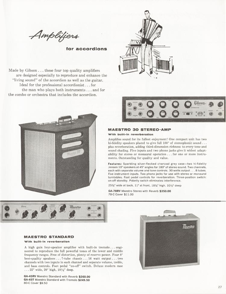 1962 Gibson guitar and bass catalogue - page 27 - GA-45T /GA-45RV and GA-78RV Maestro Stereo accordion amplifiers