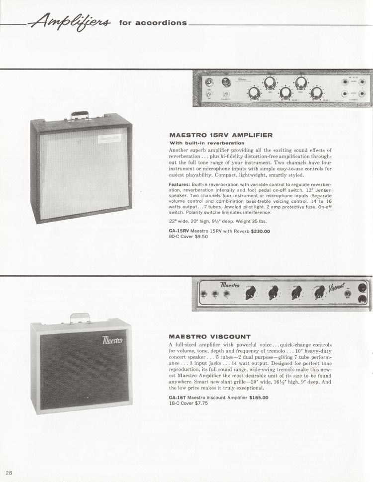 1962 Gibson guitar and bass catalogue - page 28 - GA-15RV Maestro 15 RV, GA-16T Maestro Viscount accordion amplifiers