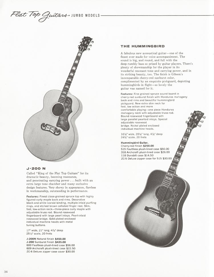 1962 Gibson guitar and bass catalogue - page 34 - J-200N and Hummingbird guitars