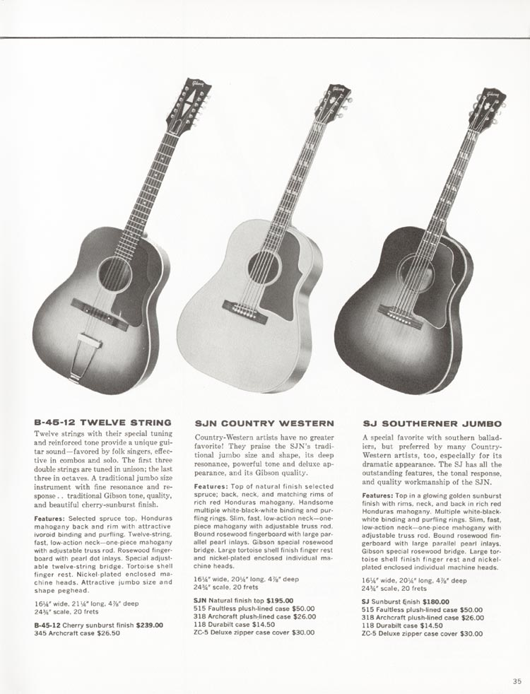 1962 Gibson guitar and bass catalogue - page 35 - B-45-12, SJN Country Western and SJ Southerner jumbo acoustic guitars