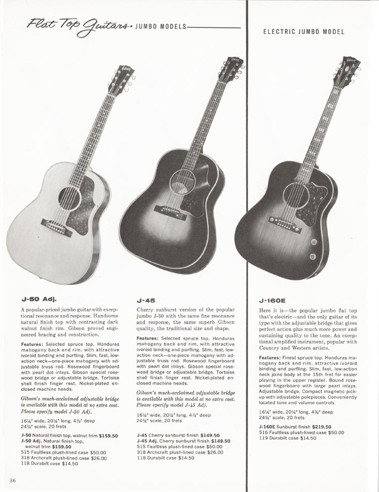 1962 Gibson guitar and bass catalogue - page 36 - J-45, J-50 acoustic and J-160E electric acoustic guitars