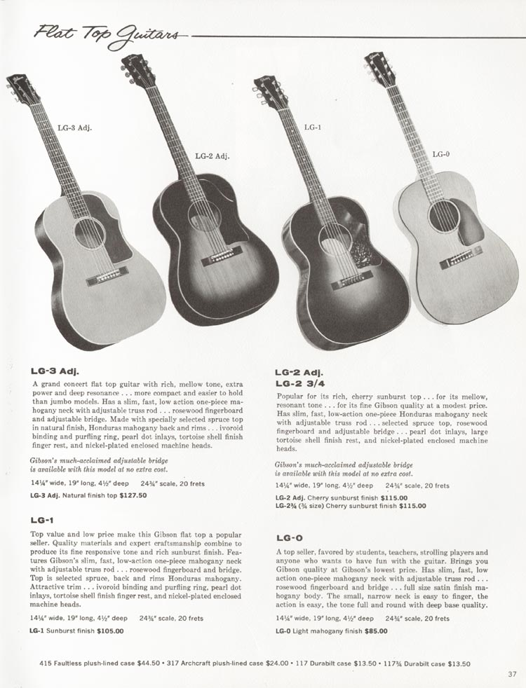 1962 Gibson guitar and bass catalogue - page 37 - LG-0, LG-1, LG-2 / LG-2 3/4, LG-3 flat top acoustic guitars