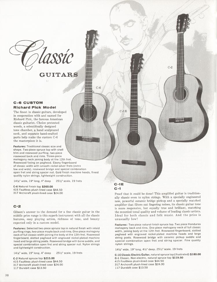 1962 Gibson guitar and bass catalogue - page 38 - C-1, C-1E, C-2 and C-6 classic guitars