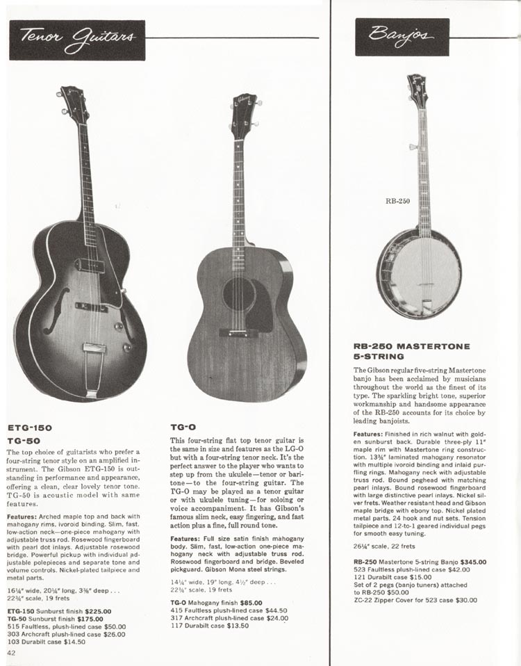 1962 Gibson guitar and bass catalogue - page 42 - TG-0, TG-50, ETG-150 acoustic guitars, and RB-250 banjo
