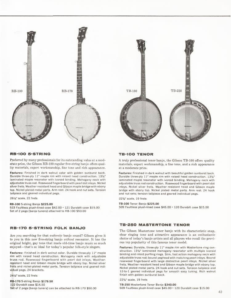 1962 Gibson guitar and bass catalogue - page 43 - RB-100, RB-170, TB-100 and TB-250 banjos