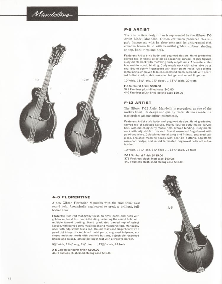 1962 Gibson guitar and bass catalogue - page 44 - F-5, F-12 and A-5 Florentine mandolins