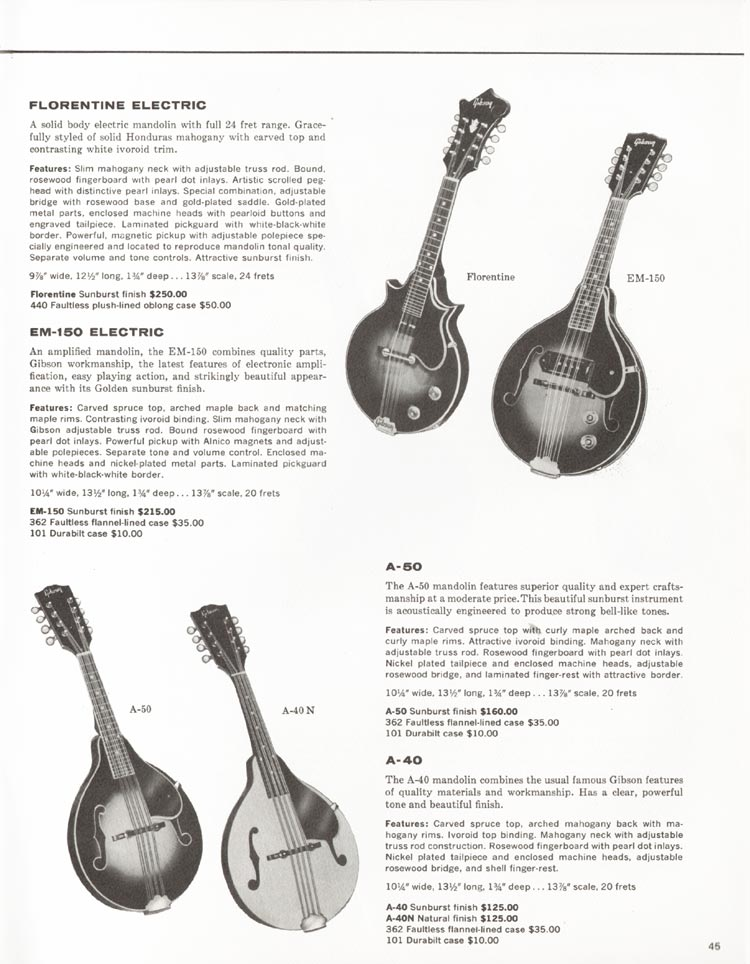 1962 Gibson guitar and bass catalogue - page 45 - A-40, A-50 mandolins and EM-150 and Florentine electric mandolins