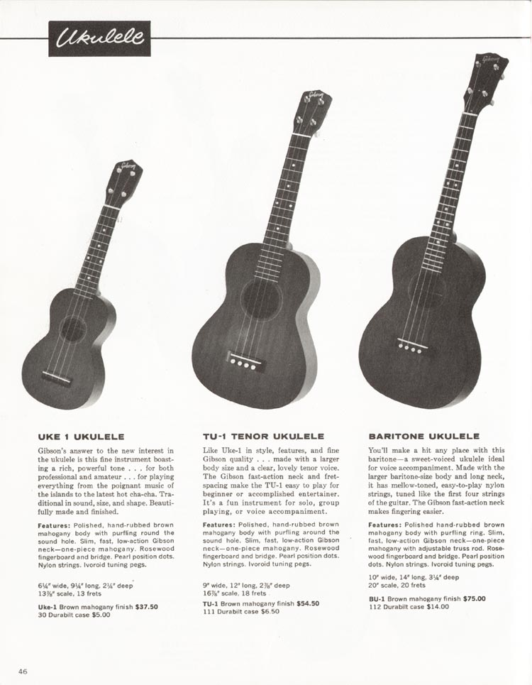 1962 Gibson guitar and bass catalogue - page 46 - Uke-1, TU-1 and BU-1 ukuleles